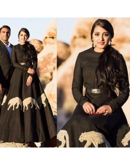 Bollywood Inspired - Party Wear Black Art Silk Gown  - S665