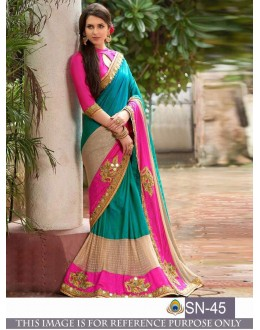 Bollywood Inspired - Wedding Wear Blue & Pink Half & Half Saree  - SN-45