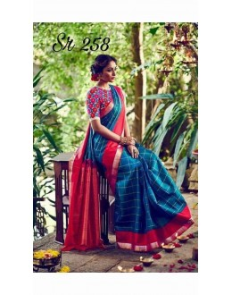 Bollywood Inspired - Party Wear Zarna Silk Blue Saree - Sr.258