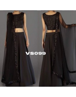 Bollywood Style - Party Wear Black Tafeta Silk Lehenga Choli - VS099