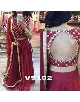 Bollywood Style - Wedding Wear Maroon Lehenga Choli  - VS102