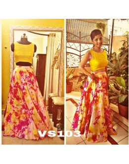 Bollywood Style - Pure Satin Silk Yellow Crop Top Lehenga  - VS103