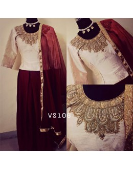 Bollywood Style - Party Wear Maroon & Cream Lehenga Choli - VS106