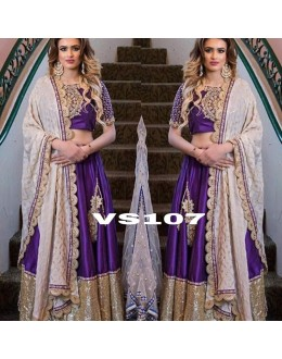Bollywood Style - Beautiful Dark Purple Silk Lehenga Choli - VS107