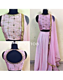 Bollywood Style - Party Wear Crape Silk Pink Lehenga Choli - VS108