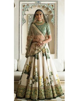 Bollywood Inspired - Weddding Wear Green & Cream Lehenga Choli  - ZC-7003
