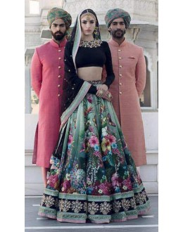 Bollywood Style - Wedding Wear Multi-Colour Silk Lehenga Choli  - ZC-7005