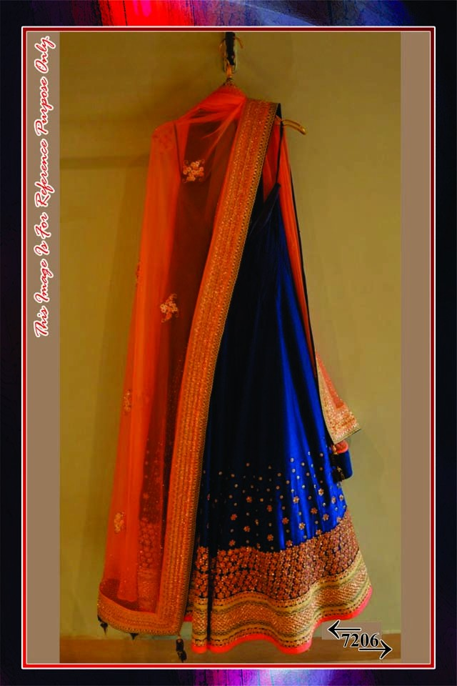 Bollywood Replica -  Designer Peach & Blue Embroidered Banglori Silk  Lehenga Choli  - 7206