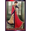 Bollywood Replica - Wedding Wear Pink & Beige Silky Georgette & Net Saree - 7184