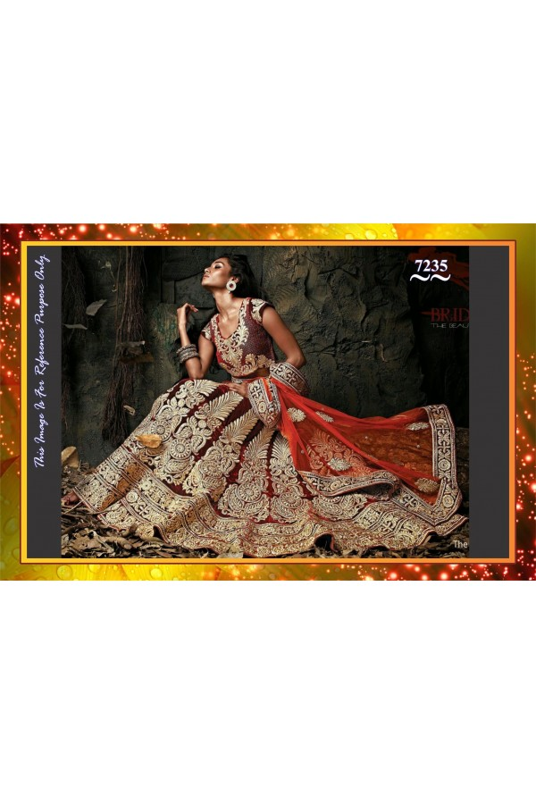 Bollywood Replica -  Bridal Wear Designer Maroon Pure Micro Velvet Lehenga Choli  - 7235
