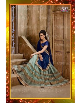Bollywood Replica -  Designer Blue With Aqua Chiffon & Net  Half & Half Party Wear Saree - 7237