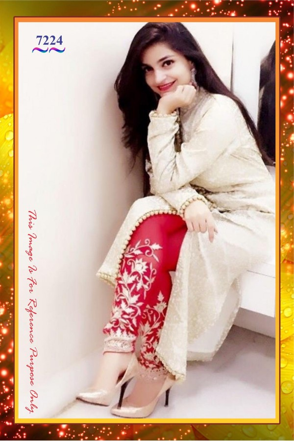 Bollywood Replica-Designer Cream & Red Jacquard Party Wear Salwar  Kameez -  7224