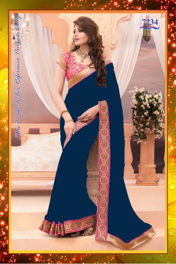 Bollywood Replica - Party Wear Blue & Pink Pure Satin Saree - 7234