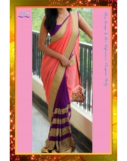 Bollywood Replica -  Party Wear Pink & Purple Georgette Sequence Work Saree - 7228