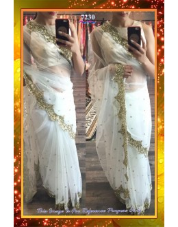 Bollywood Replica -  Party Wear White Net  Sequence Work Saree - 7230