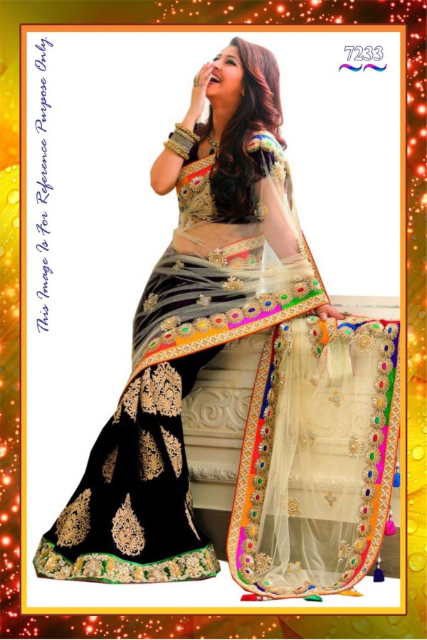 Bollywood Replica - Wedding Wear Beige Net & Black Georgette Embroidered Saree - 7233