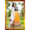 Bollywood Replica -  Wedding Wear Yellow & Black Embroidered Pure Georgette Lehenga Choli  - 7227