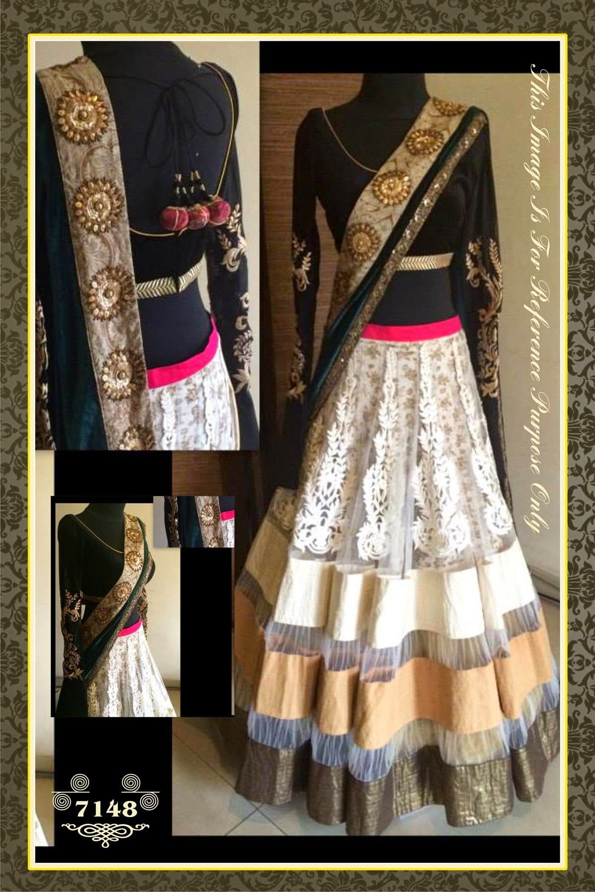Bollywood Replica -  Wedding Wear Cream & Black Net Lehenga Choli  -  7148