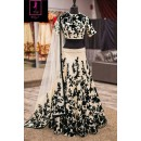 Bollywood Replica -  Wedding Wear Cream & Black  Bhagalpuri Silk Lehenga Choli  - Neerja06