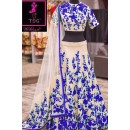 Bollywood Replica -  Wedding Wear Cream & Blue  Bhagalpuri Silk Lehenga Choli  - Neerja02