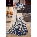 Bollywood Replica -  Wedding Wear Cream & Blue  Bhagalpuri Silk Lehenga Choli  - Neerja07