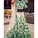 Bollywood Replica -  Wedding Wear Cream & Green  Bhagalpuri Silk Lehenga Choli  - Neerja04