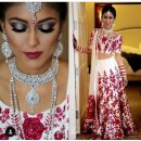 Bollywood Replica -  Wedding Wear Cream & Red Bhagalpuri Silk Lehenga Choli  - Neerja01