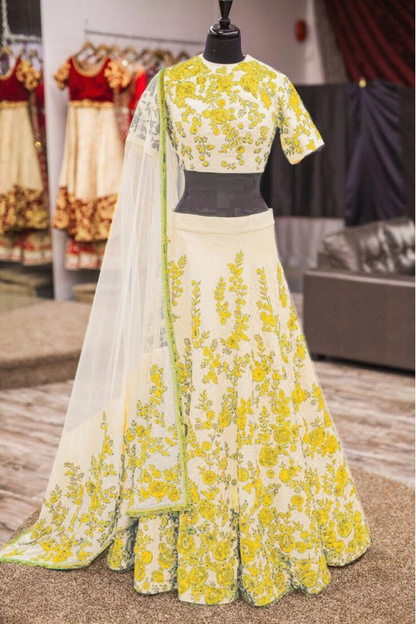 Bollywood Replica -  Wedding Wear Cream & Yellow  Bhagalpuri Silk Lehenga Choli  - Neerja08