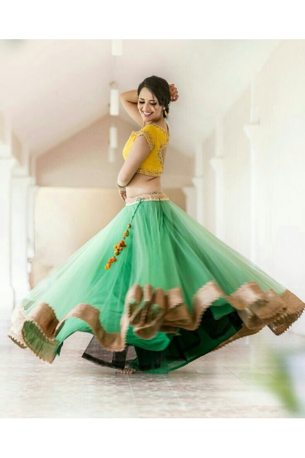 Bollywood Replica -  Wedding Wear Yellow & Green Net Embroidered Lehenga Choli  - 555