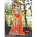Ethnic Wear Net Beige Lehenga Choli - 90009