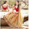 Wedding Wear Net Cream Lehenga Choli - 90001
