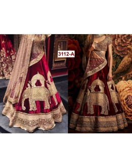 Bollywood Replica - Bridal Wear Maroon Viscose Velvet Lehenga Choli - 3112-A