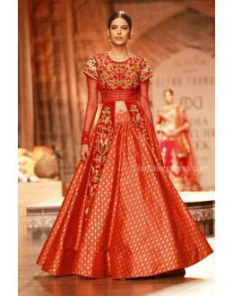 Bollywood Replica - Designer Orange Silk Indo-Western Lehenga Suit - 49