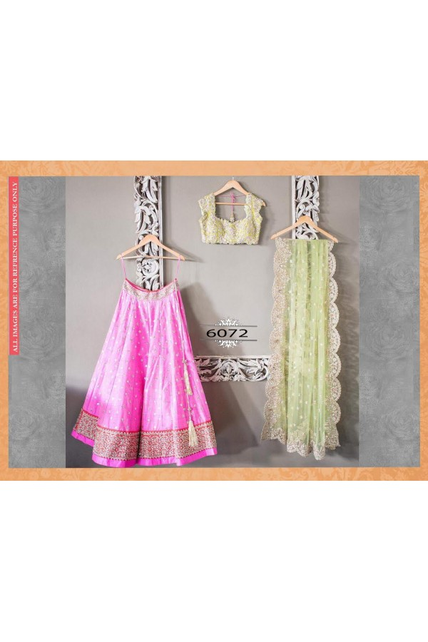 Bollywood Replica - Wedding Wear Baby Pink & Pista Green Lehenga Choli - 6072