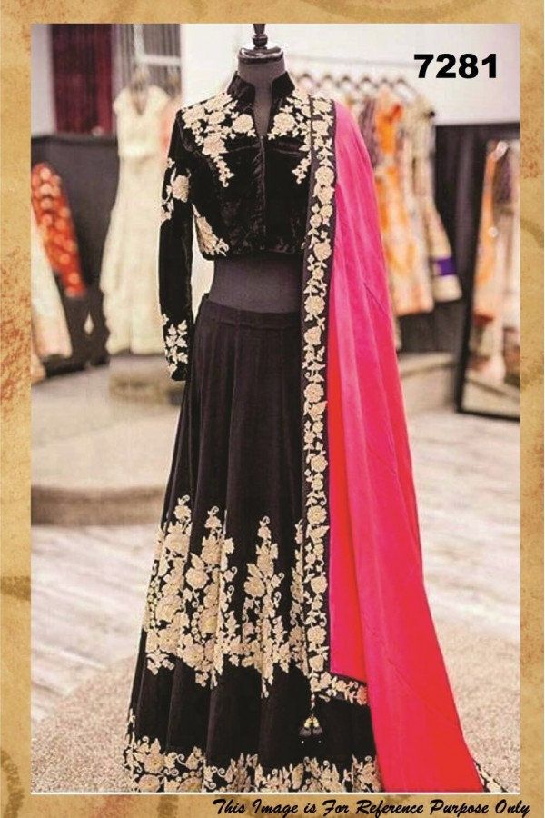 Bollywood Replica - Wedding Wear Black & Pink Lehenga Choli -  7281