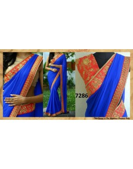 Bollywood Replica - Party Wear Blue Pure Satin Silk Saree - 7286
