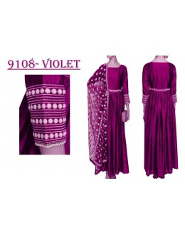 Bollywood Replica - Party Wear Violet Banglori Silk Anarkali Dress - 9108-Violet