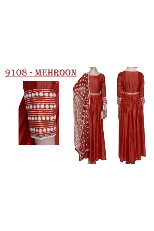 Bollywood Replica - Party Wear Marron Banglori Silk Anarkali Dress - 9108-Mehroon