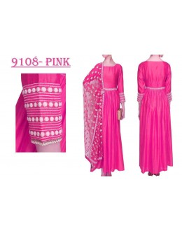 Bollywood Replica - Party Wear Pink Banglori Silk Anarkali Dress - 9108-Pink