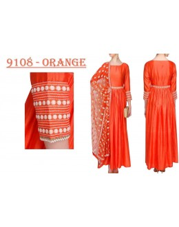 Bollywood Replica - Party Wear Orange Banglori Silk Anarkali Dress - 9108-Orange