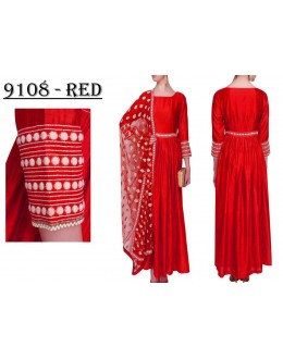 Bollywood Replica - Party Wear Red Banglori Silk Anarkali Dress - 9108-Red