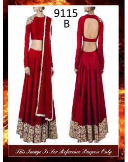 Bollywood Replica - Wedding Wear Red Raw Silk Lehenga Choli - 9115-B