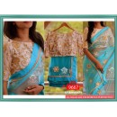 Bollywood Replica - Designer Blue & White Full Net Saree - 9667