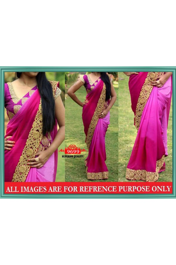 Bollywood Replica - Wedding Wear Shaded Pink Saree - 9699