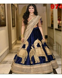 Bollywood Replica - Wedding Wear Blue Velvet Lehenga Choli - 9742