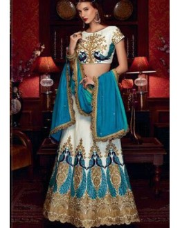 Bollywood Style - Party Wear White & Blue Silk Lehenga Choli  - AB- 70