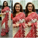 Bollywood Replica - Madhuri Dixit Designer Off-White & Red Saree - AB-29
