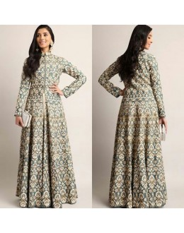 Bollywood Replica - Designer Heavy Embroidered Grey Indo-Western Suit - AB-56