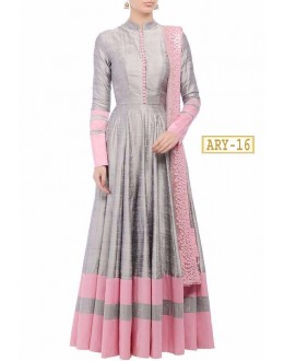 Bollywood Style -Party Wear Grey & Pink Anarkali Suit - ARY-16