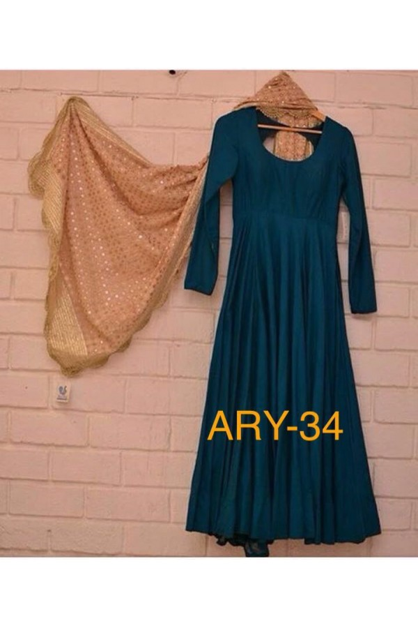 Bollywood Style -Party Wear Blue Silk Anarkali Suit - ARY-34